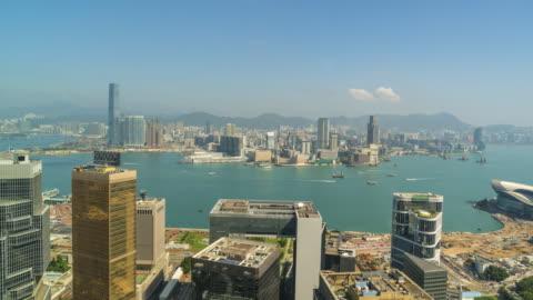 hong kong skyline, time lapse - hong kong island stock videos & royalty-free footage