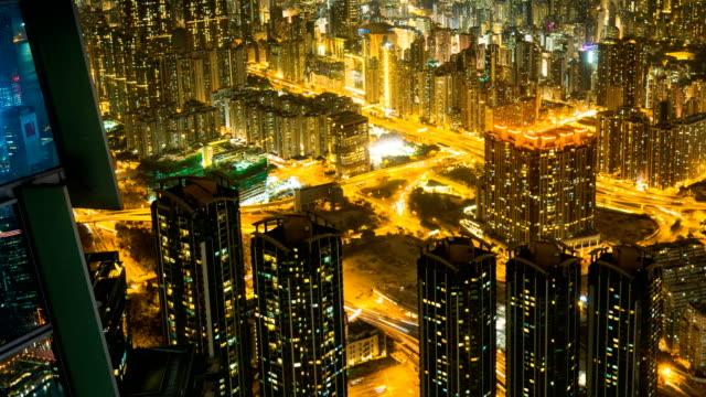 stockvideo's en b-roll-footage met tl pr hong kong skyline uitzicht vanaf sky 100 observatie dek, hong kong - hong kong