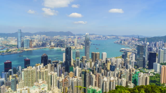 hong kong skyline view from victoria peak, time lapse - victoria peak stock videos & royalty-free footage