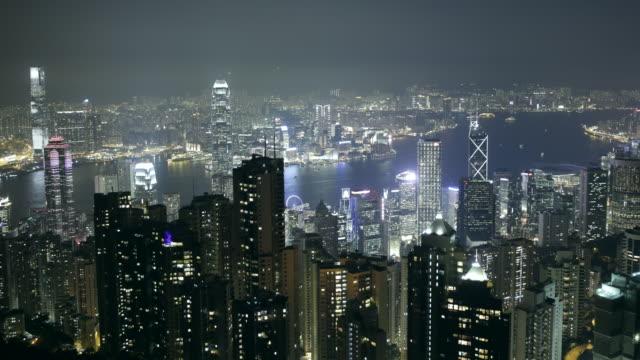 stockvideo's en b-roll-footage met ws tl hong kong skyline with hong kong harbour - hong kong