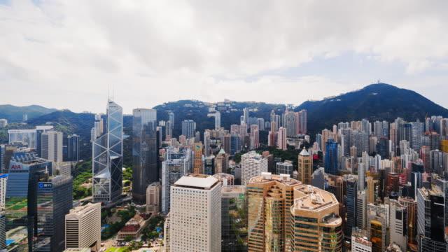 t/l ws zo  hong kong skyscrapers and skyline, china - hong kong island stock videos & royalty-free footage
