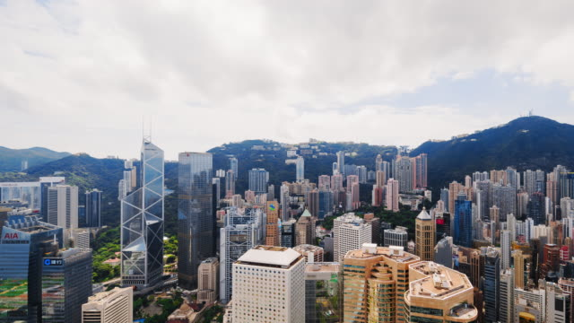 hong kong skyscrapers and skyline, china - tilt stock videos & royalty-free footage