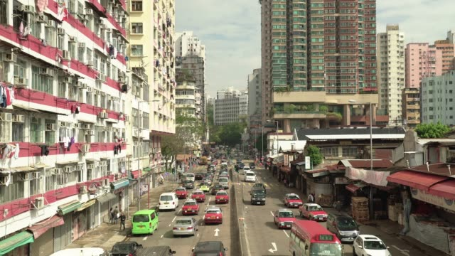 Hong Kong Street Scene with cars