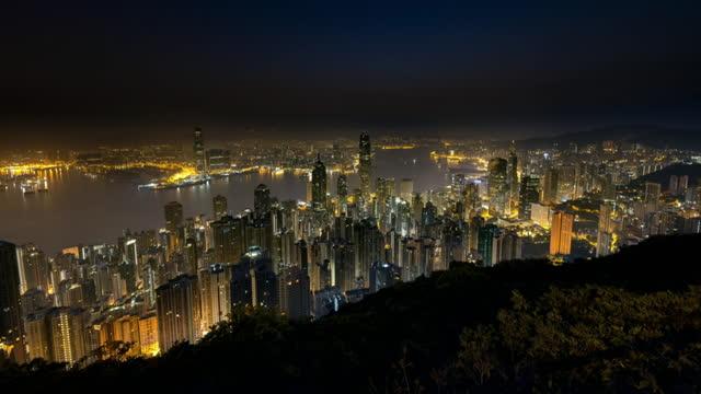 tl hong kong streets and skyline night to day - hong kong stock videos & royalty-free footage