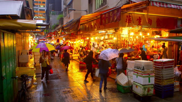 hong kong streets at night - hanging stock videos & royalty-free footage