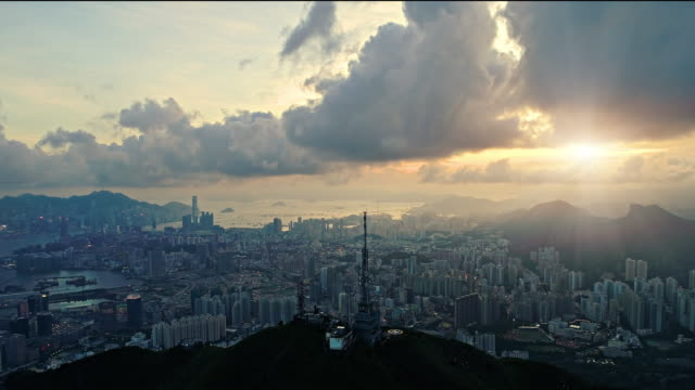 hong kong sunrise from a drone - central district hong kong stock videos & royalty-free footage