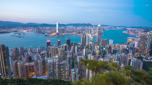 hong kong sunset - hong kong island stock videos & royalty-free footage