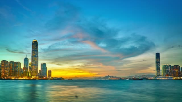 vídeos y material grabado en eventos de stock de sunset in hong kong - hong kong