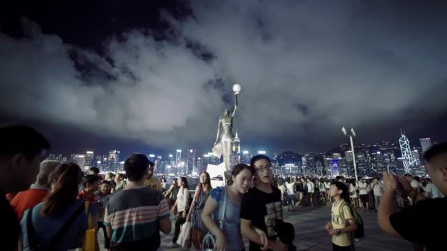 Hong Kong symfoni av ljus på natten