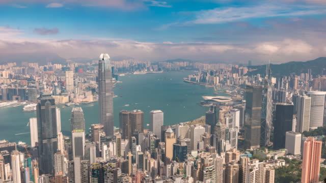 香港時間経過4k、ビクトリアピーク香港からの街のスカイラインタイムラプスビュー - ビクトリアピーク点の映像素材/bロール