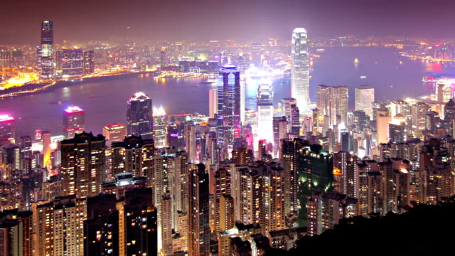 hong kong time lapse - victoria harbour hong kong stock videos and b-roll footage
