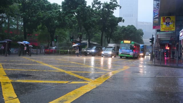 hong kong traffic in the rain - wet stock videos & royalty-free footage