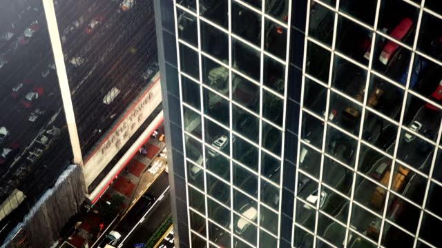 hong kong traffic reflected in office windows - hong kong island stock videos & royalty-free footage