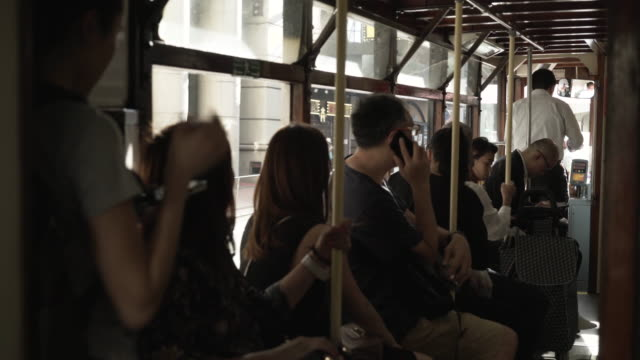 hong kong tram interior - tram stock videos & royalty-free footage
