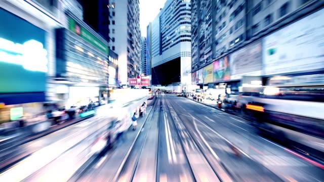 hong kong tram timelapse - causeway stock videos & royalty-free footage