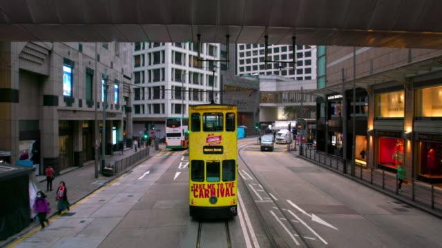 vídeos y material grabado en eventos de stock de hong kong tram - vía de tranvía