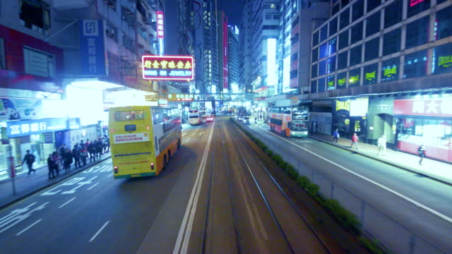 vídeos de stock, filmes e b-roll de hong kong tram - ponto de vista de bonde