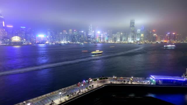 hong kong tsim sha tsui promenade illuminated china - tsim sha tsui stock videos & royalty-free footage