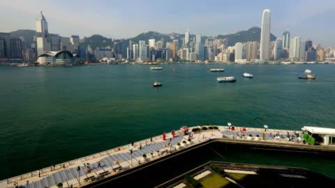 hong kong tsim sha tsui promenade illuminated china - pedestrian walkway stock videos & royalty-free footage