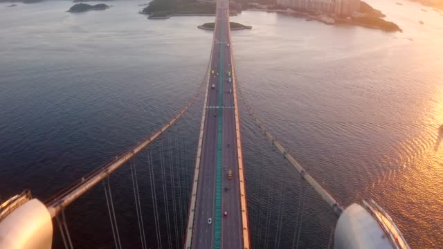 hong kong tsing ma bridge in sunset - vanishing point stock videos & royalty-free footage