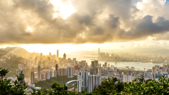hong kong urban city sunset .zoom out - victoria peak stock videos & royalty-free footage