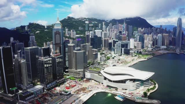 hong kong victoria harbor from air - wan chai stock videos & royalty-free footage