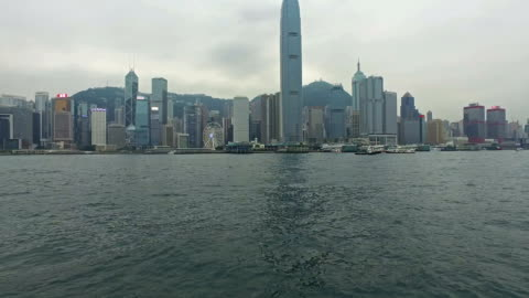 hong kong victoria harbor hyper lapse from star ferry - hong kong island stock videos & royalty-free footage