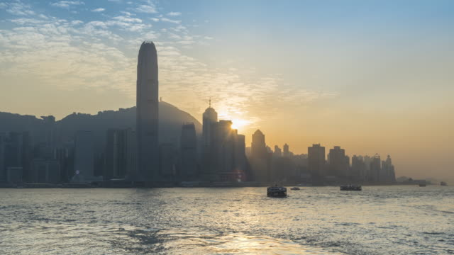 Hong Kong Victoria harbor sunset twilight