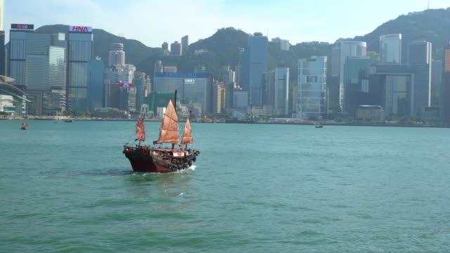 vidéos et rushes de hong kong, victoria harbour and skyline - jonque
