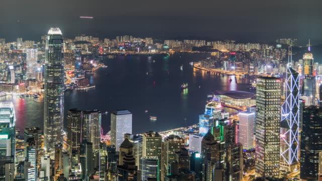 vídeos de stock, filmes e b-roll de porto de t/l tu hong kong victoria na noite - ocidentalização