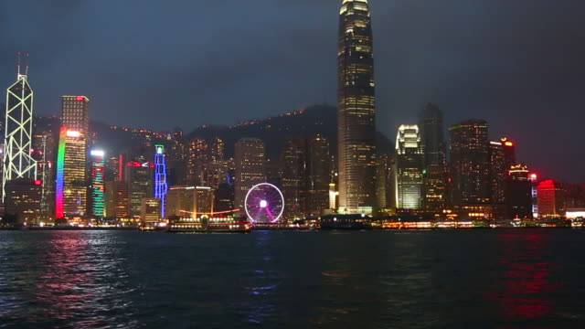 hong kong victoria harbour at night - bay of water stock videos & royalty-free footage