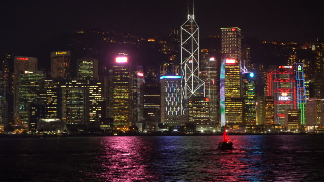hong kong, victoria harbour by night - victoria harbour hong kong stock videos and b-roll footage