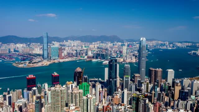 vídeos de stock, filmes e b-roll de hong kong em victoria harbour - ilha de hong kong