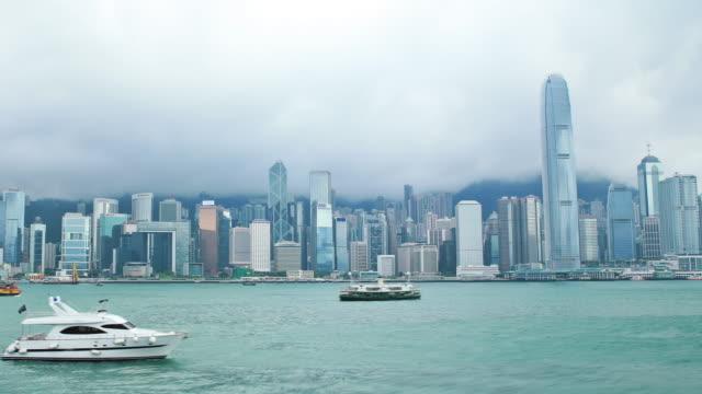 vidéos et rushes de le port victoria harbour de hong kong - île de hong kong