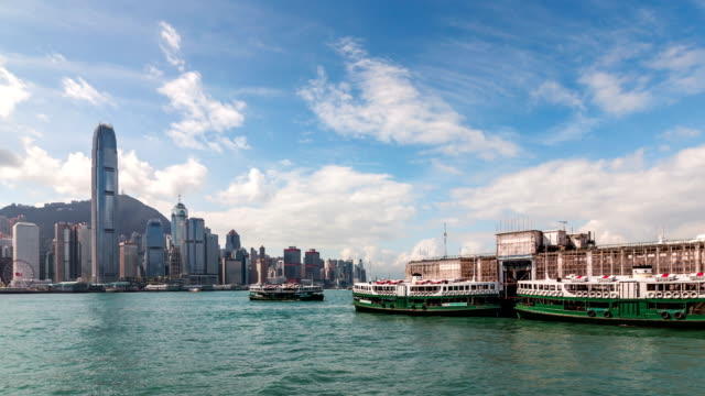 4k tl hong kong victoria peak and star ferry city scenery - star ferry stock videos & royalty-free footage
