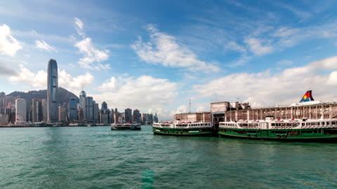 4k tl hongkong victoria peak und star ferry stadt landschaft - star ferry stock-videos und b-roll-filmmaterial