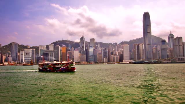 vídeos de stock e filmes b-roll de hong kong. - embarcação comercial