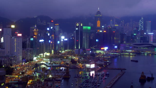 hong kong waterfront at night - central plaza hong kong stock videos & royalty-free footage