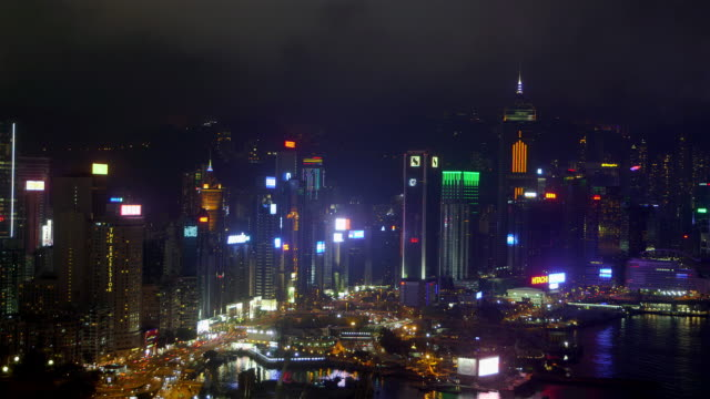 hong kong waterfront at night - central plaza hong kong stock videos & royalty-free footage
