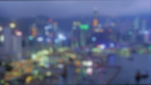 hong kong waterfront at night - セントラルプラザ点の映像素材/bロール