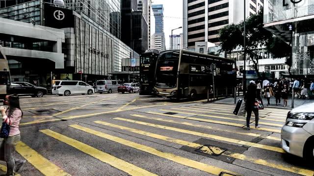 Hong Kong, Cina-Nov 14,2014:  Il traffico e i pedoni nel centro di Hong Kong, Cina