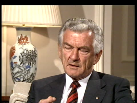 hong kong's future / china / bob hawke london visit c london sw1 knightsbridge hyde pk hotel intvw sof well we've got to make judgements - bob hawke stock videos and b-roll footage