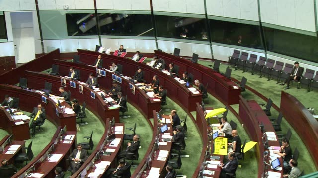 stockvideo's en b-roll-footage met hong kongs legislative council the de facto parliament meets after closing last week due to the mass pro democracy protests - hong kong