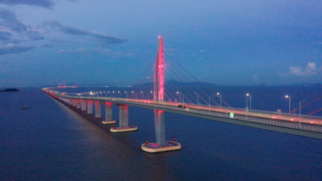 hong kong-zhuhai-macao bridge - macao stock videos & royalty-free footage