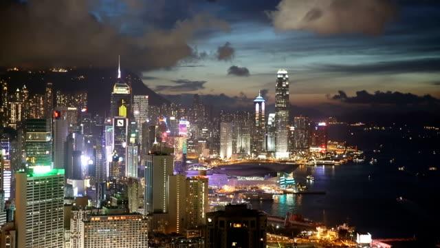 hd vdo : hongkong city at night - full hd format stock videos & royalty-free footage