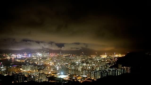hongkong city at night - full hd format stock videos & royalty-free footage