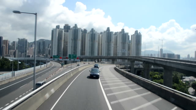 hongkong road - 乗物後部から見た視点点の映像素材/bロール