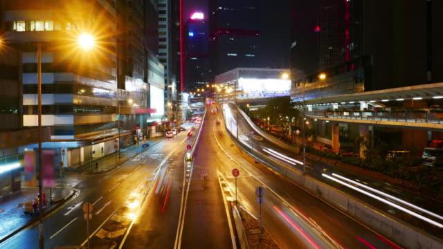 hongkong street nachtfahrten, time lapse vergrößern 4k. - insel hong kong island stock-videos und b-roll-filmmaterial