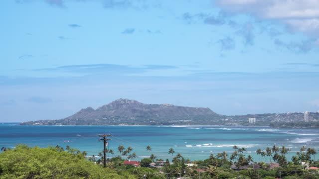 honolulu cityscape, diamond head, and mauna loa bay of ohau, hawaii, usa - mauna loa stock videos and b-roll footage