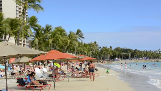 Honolulu Hawaii Oahu Waikiki Beach with tourists on wonderful beach with water and sand